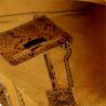 Torebka worek skórzana shopper musztardowa wzór wężowej skóry