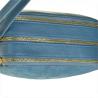 Modna skórzana listonoszka M niebieska dżins