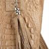 Torba worek z miękkiej skóry bardzo lekka XL wzór krokodylej skóry beżowa