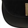 Włoska czarna torebka listonoszka skóra łączona z zamszem