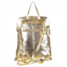 Plecak skórzany złoty A4 lekki