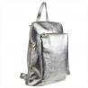 Plecak skórzany srebrny A4 lekki