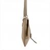 Modna skórzana listonoszka beżowa z klapą