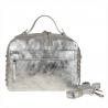 Elegancka torebka listonoszka kuferek srebrna z ćwiekami