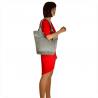 Popielata torebka shopper skórzana z połyskiem XL