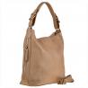 Skórzana torba shopper na ramię-beżowa L
