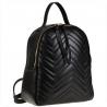 Czarny plecak damski ze skóry naturalnej pikowany
