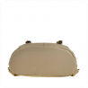 Skórzany plecak beżowy z klapą, skóra cielęca najwyższej jakości