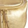 Lekka skórzana listonoszka z szerokim paskiem złota