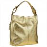 Skórzana torebka na ramię złota L