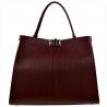 Duża torebka skórzana bordowa shopper bag