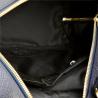 Granatowy plecak damski ze skóry naturalnej ze złotymi zamkami