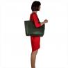 Torebka shopper zielona pojemna skórzana XL