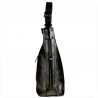 Skórzana torebka na ramię grafitowa metalik L