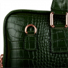 Skórzana aktówka damska wzór krokodylej skóry zielona