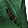 Torebka worek skórzana shopper zielona metalik