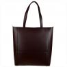Elegancka bordowa torebka skórzana shopper duża