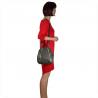 Plecak damski ze skóry naturalnej ze złotymi zamkami szary
