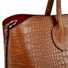 Skórzana torebka kuferek camel z kosmetyczką VEZZE wzór wężowej skóry