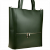 Elegancka zielona skórzana torebka shopper duża