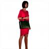 Skórzana torebka kuferek zielona z kosmetyczką VEZZE wzór wężowej skóry