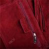 Torba worek zamszowa bordowa z podszewką i zamkiem