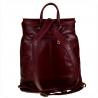 Skórzany plecak bordowy z klapą