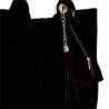 Torba worek zamszowa czarna z kosmetyczką