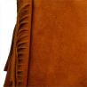 Lekka zamszowa torebka na ramię ozdobnymi frędzlami camel