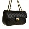Śliczna czarna skórzana torebka pikowana rozmiar L