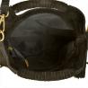 Lekka zamszowa torebka na ramię ozdobnymi frędzlami czarna