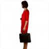 Elegancka aktówka damska skórzana XL czarna z zamkiem