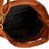 Lekka zamszowa torebka na ramię ozdobnymi frędzlami koniak