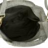 Lekka zamszowa torebka na ramię ozdobnymi frędzlami szara