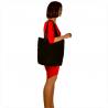 Duża torba skóra zamszowa czarna włoska