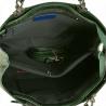 Skórzana torebka shopper zielona z tłoczonym wzorem
