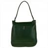Skórzana torba na ramię zielona z ćwiekami
