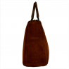Elegancka skórzana torebka kuferek brąz koniak zamsz