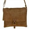 Nowy wzór zamszowa torebka listonoszka duża taupe brązowa L
