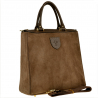 Elegancka skórzana torebka kuferek taupe brązowy zamsz
