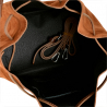 Duża torebka worek zamszowa brązowy koniak z ćwiekami L