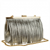 Elegancka wizytowa torebka skórzana srebrna z frędzlami
