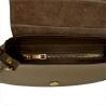 Włoska taupe torebka listonoszka skóra łączona z zamszem