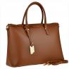 Elegancka skórzana aktówko-torebka XL brąz camel