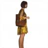 Brązowa koniak torebka shopper skórzana z połyskiem XL