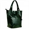 Zielona torebka shopper skórzana z połyskiem XL