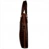 Skórzana aktówka damska wzór krokodylej skóry koniak brąz
