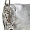 Listonoszka damska M srebrna z zamkami skóra naturalna