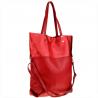 Duża torba shopper bag czerwona skóra naturalna