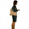 Duża torebka włoska shopper bag róż pudrowy skóra naturalna